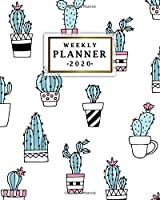 Weekly Planner 2020: Cute Monthly Weekly Daily Views with To-Do's, Funny Holidays & Inspirational Quotes, Vision Boards, Notes & More   2020 Organizer, Agenda & Diary   Pretty Potted Cactus & Cacti Print