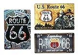 (オールドボーイ) Old-boy ブリキ看板 3枚 セット ルート66 ROUTE 66 アメリカン 雑貨