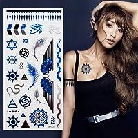 フラッシュタトゥー【シャイニングタトゥー】タトゥーシール 新色 ブルー 翼 ロゴ 蛇/mt022b
