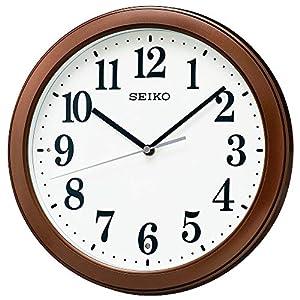 セイコークロック 掛け時計 茶メタリック 本体サイズ:直径28×4.8cm 電波 アナログ コンパクトサイズ 値札なし BC404B