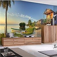 Weaeo 地中海の3D壁写真の壁画海の家の風景の風景3D壁の壁画リビングルームのためのフレスコ画のビニールの壁紙-280X200Cm