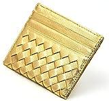 本革 イントレチャート 高級感 羊皮 編みこみ メッシュ 薄型 カード 収納 ケース パスケース 定期入れ (ゴールド)