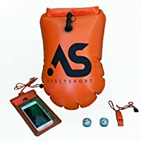 (Orange) - AssetSport Inflatable Swimming Buoy - safety swimming buoy w/waterproof phone case, 2 LED lights (night visibility) and whistle - portable for open water - w/waterproof storage for personal items.
