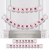 ピンク ウィンター ワンダーランド - ホリデー 雪の結晶 パーティー ベビーシャワー バンティング バナー - パーティー デコレーション - ウィンター ワンダーランド