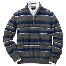Eddie Bauer Blended Supima Cotton Half-zip Mock Neck Stripe Sweater