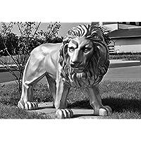 ラミネート加工34x 24ポスター:ライオン彫刻図ストーン彫刻ロックCarvingストーン図Garden Statue Portrait Animal Statueブラックホワイト
