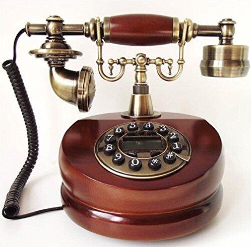 アンティーク電話機 ヨーロッパ風 装飾電話機 プッシュ式 骨董品 電池不要 ...
