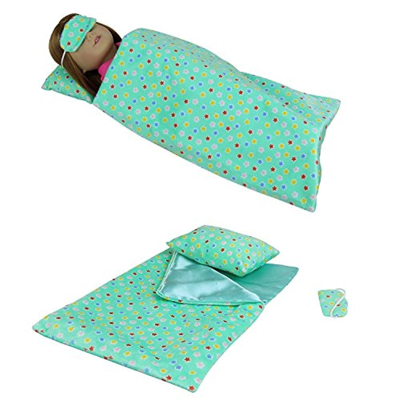 ZITA ELEMENT 1/4サイズアメリカガールドール用 寝具セット-1枚布団+1つ枕+1つ眼帯 グリーン 星柄
