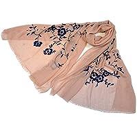 (NEW COLORS)超大判 ゴージャス刺繍 パシュミナストール 花柄 刺繍入ストール  (ベージュ ピンク)