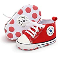 Isbasic Baby Boy Girl Canvas High Top Sneakers Infant Toddler Soft Sole First Walkers Shoes