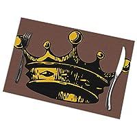 ランチョンマット 6枚セット クラウンプリント プレースマット テーブルマット 撥水 防汚 断熱 水洗いOK 丸洗い お手入れ簡単 滑り止め 摩擦耐える 食卓飾り 家庭 レストラン用