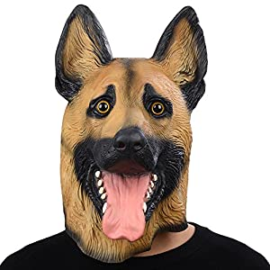 ドイツ牧羊犬マスク アニマルマスク、パーティーマスク ラテックスマスク、犬マスク動物マスク、ハロウィーンのマスク 天然ゴムラテックス製