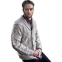 Irish Aran Knitwear 100% Irish Merino Wool Men's Shawl Neck Cardigan Sweater with Pockets   Made in Ireland