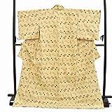着物ひととき 琉球紬(絣) リサイクル正絹 クリーム色 絵絣文様 裄64cm Lサイズ りゅうきゅうつむぎ(がすり) hh0432 [中古]