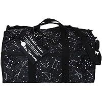 ボストンバッグ ショルダーバッグ トラベル コンステレーション星座柄 ポーチ付き ブラック