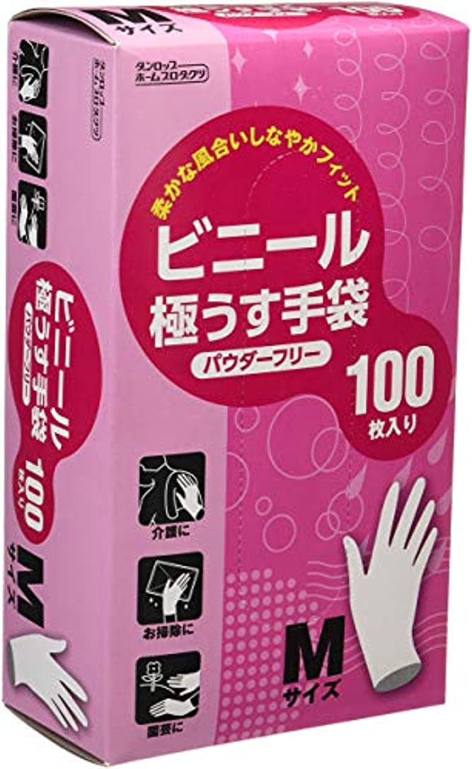 ニックネーム虎プロフェッショナルダンロップ ビニール極うす手袋 パウダーフリー Mサイズ 100枚入 ×20個