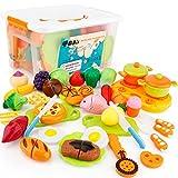 SONi おままごと 40個セット ごっこ遊び 収納ボックス 切れる野菜 魚 果物 クッキー 目玉焼き 二人遊びセット 知育玩具 子どもの誕生日プレゼント 入園お祝い