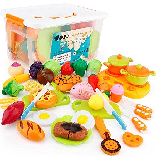 SONi おままごと 40個セット ごっこ遊び 収納ボックス 切れる野菜 魚 果物 クッキー 目玉焼...