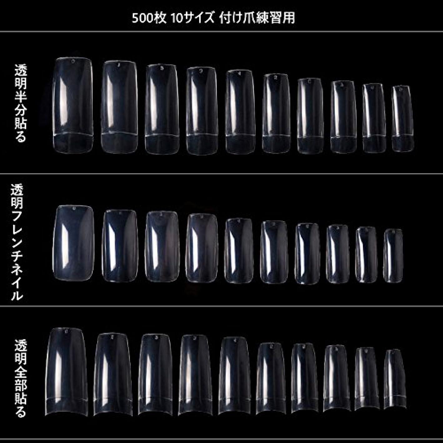 水銀の乳製品マウスピース500枚 10サイズ 付け爪練習用 つけ爪 無地 ロング オーバル ネイルチップ クリア ネイルチップ ロング 付け爪 練習用 透明 (透明全部貼る)