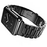 EHHE 腕時計バンド Apple Watch i Watch 38mm アップルウォッチベルト ステレンス 金属 連結器等5点セット 黒 ブラック 3連駒 スマートフォンアクセサリ