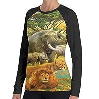 レディースプリント長袖Tシャツ 動物 春、夏、秋と冬の人気の若い女性の長袖、レジャー、スポーツ、ショッピング、ランニング、若いXXL