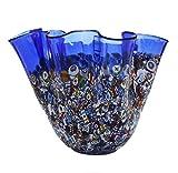 ZECCHIN イタリア製ベネチアンガラス花瓶「SAN MARCO FAZZOLETTO」 (ブルー)
