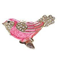 鳥エナメルクリスタル動物ストレッチファッションリングピンク