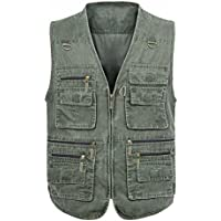 Mens Multi-Pockets Vest for Outdoor Travels Sports