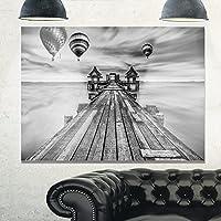 Design Art MT10575-28-12 木製ブリッジ 太陽の橋間のポート入り メタルウォールアート 28x12