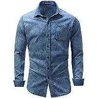FREDD MARSHALL Men's Button Down Casual Pocket Jean Shirt