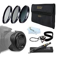 52mmのプロフェッショナルレンズアクセサリキットNikon d7100, d7000, d5200, d5100, d3200, d3100, d800, d700, d600, d300s , d90DSLRカメラIncludes : 3個入りFundamentalフィルターキット( UV CPL nd8ニュートラル密度) +リバーシブルチューリップレンズフード+センターピンチレンズキャップ+ 62mm AMAZ23662