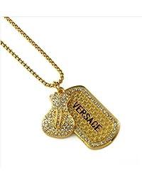 janestoreファッションメンズIced Out Rock Golden Dollar Purse正方形ペンダントチェーンネックレス