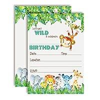 AmandaCreation Get Wild 水彩画 ジャングルアニマル 誕生日パーティー招待状 5インチx7インチ カード20枚 白い封筒20枚付き