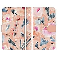 Ruuu ARROWS V F-04E 手帳型 スマートフォン スマホ ケース カバー 水彩 花 花柄 はな ウォーターカラー ブーケ かわいい おしゃれ 大人かわいい フェミニン ピンク フラワー サーモンピンク 花びら 可愛い 人気 携帯カバー レディース