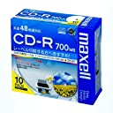 maxell データ用 CD-R 700MB 48倍速対応 インクジェットプリンタ対応ホワイト(ワイド印刷) 10枚 5mmケース入 CDR700S.WP.S1P10S