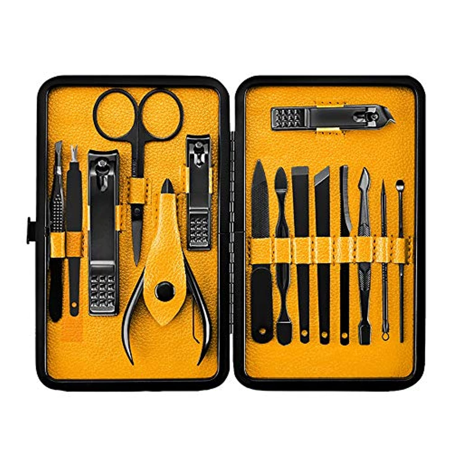 レキシコン寄付する繁栄CUHAWUDBA 15ピース、プロフェッショナル、マニキュア、ステンレス鋼製ネイルのクリッパー、爪切り、はさみのセット、キット、マニキュアのセット、ネイルのツール、ネイルアートのツール