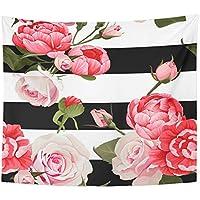 emvencyタペストリー曼荼羅50 x 60インチホーム装飾カラフルな抽象ピオニーとバラ2のブラックとホワイトストライプ花柄ピンク美しいベッドルームリビングルーム寮 50x60 ブラック