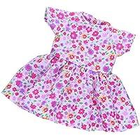 Lovoski アクセサリー 花 半袖ドレス ワンピース 14インチドール人形のため 高品質 ピンク