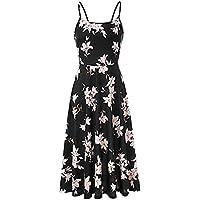 SamMoSon Formal Dresses for Women,Women's Sleeveless Floral Summer Adjustable Cold Shoulder Strap Cocktail Dress,Black,Large