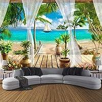 3d 写真の壁紙バルコニーサンディビーチシービュー3d 室内ソファベッドルームテレビ背景壁壁画壁紙の家の装飾 幅 400cm * Height280cm A
