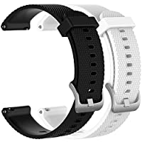 2pcs Small 20mm Replacement Silicone Bands for Fossil Q Control Gen 3 Sport Smartwatch, A