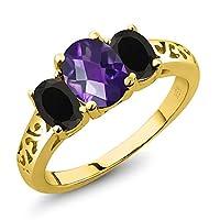 Gem Stone King 1.78カラット 天然 アメジスト 天然 オニキス シルバー925 イエローゴールドコーティング 指輪 リング