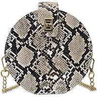 Women Snakeskin Leather Shoulder Crossbody Bag Round-Shaped Clutch Handbag with Removable Strap