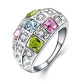 Rockyu ジュエリー ブランド レディース リング ルビー キラキラ 可愛い カラー プラチナ 指輪