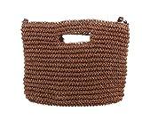 【 夏 に ぴったり 】 レディース カゴ ショルダー ハンド バッグ 手提げ 鞄 編み鞄 ビーチ ストロー 素材 2way (モカ)