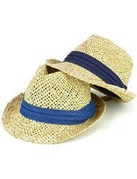 ノーブランド品 デニム帯ストロー手編み中折 ヤング帽子