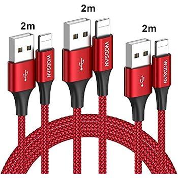 iPhone 充電ケーブル ライトニングケーブル【3本セット 2M】高速データ転送 急速充電 USB同期&充電 高耐久 iPhone XS/XS Max/XR/X/8/8Plus/7/7 Plus/6s/6s Plus/iPad/iPod各種対応