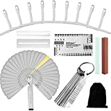 17 Pieces Guitar Luthier Tool Set, 13 Stainless Steel Needle File, 9 Understring Radius Gauge, 32 Steel Feeler Gauge, String Action Ruler, 2 Fingerboard Guards, 2 Grinding Stone, with Flannelette bags