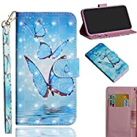 Compatible for Xiaomi Mi CC9e Case for Women/Girls, WVYMX PU Leather Wallet Case Kickstand with Slim Back Cover, Card Holders, Magnetic Closure Kickstand for Xiaomi Mi CC9e Butterfly