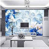 Xbwy カスタム3D壁画壁紙風景テレビの背景現代ファンタジーファッションブルーフローラルリングサイクル写真壁紙寝室-350X250Cm